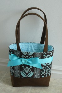 Purse brown & teal print done