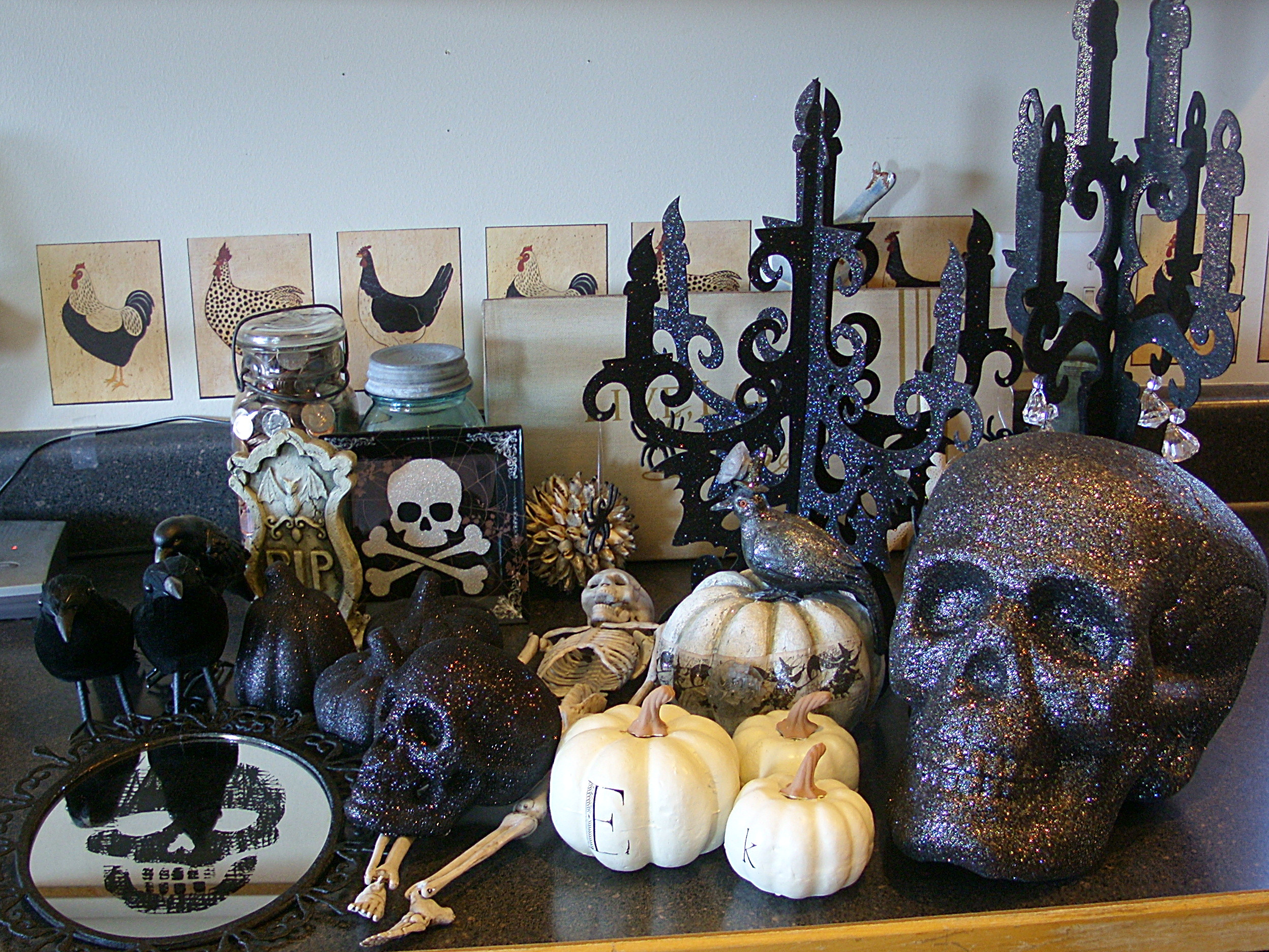 decorating the cabinets for halloween organize and. Black Bedroom Furniture Sets. Home Design Ideas