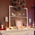 White, Silver, and Red Christmas Mantel