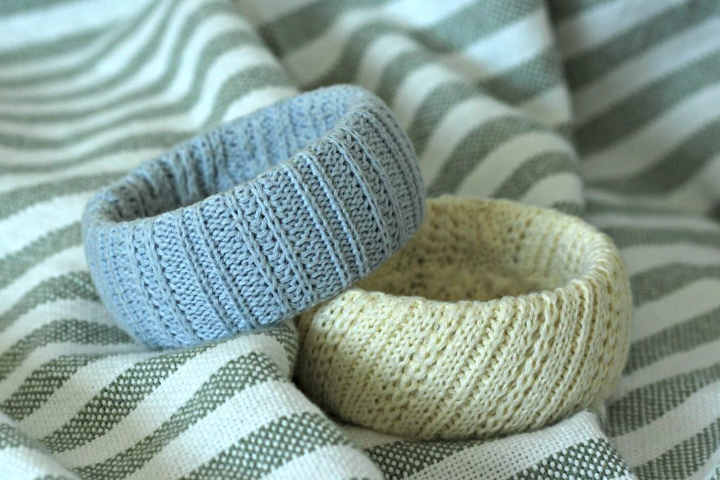 sweater bracelets yellow and blue