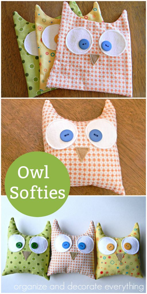 make owl softies using a simple shape and a variety of fabrics you probably already have