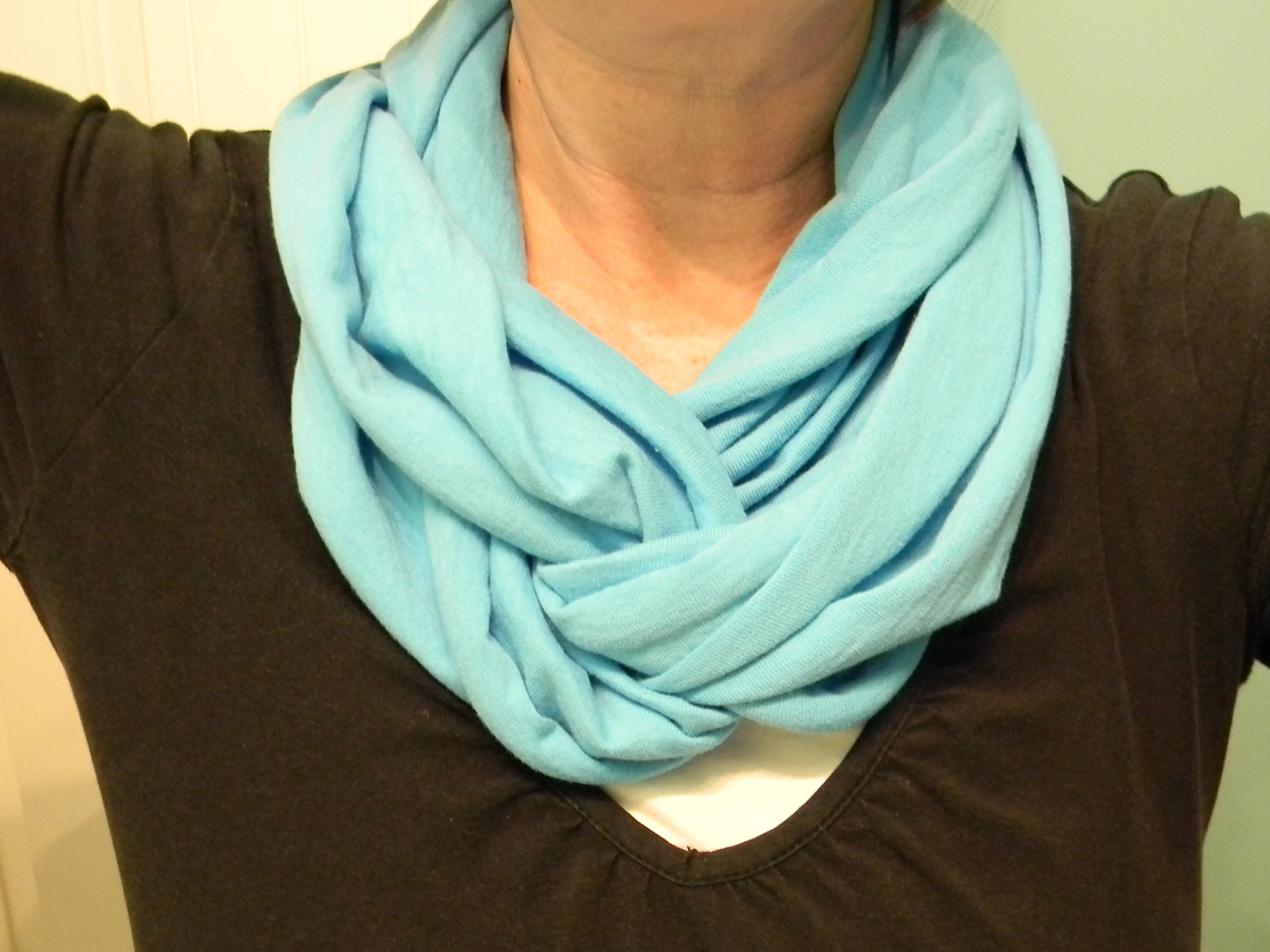 make an infinity scarf from a t shirt organize and