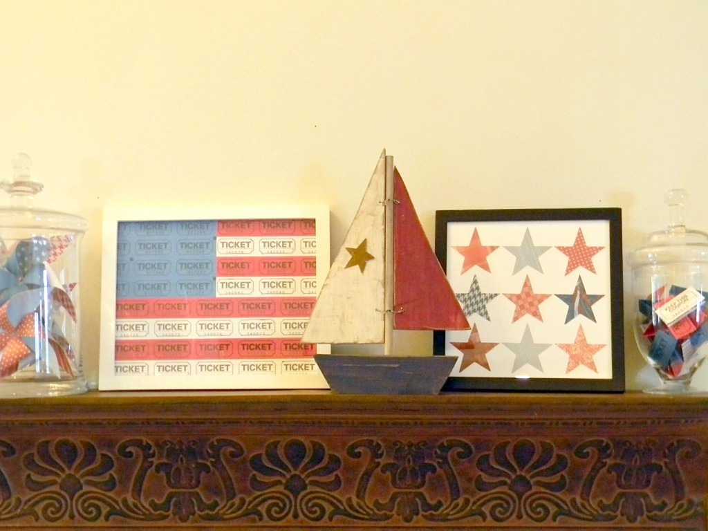 4th of July Star Art with other decor