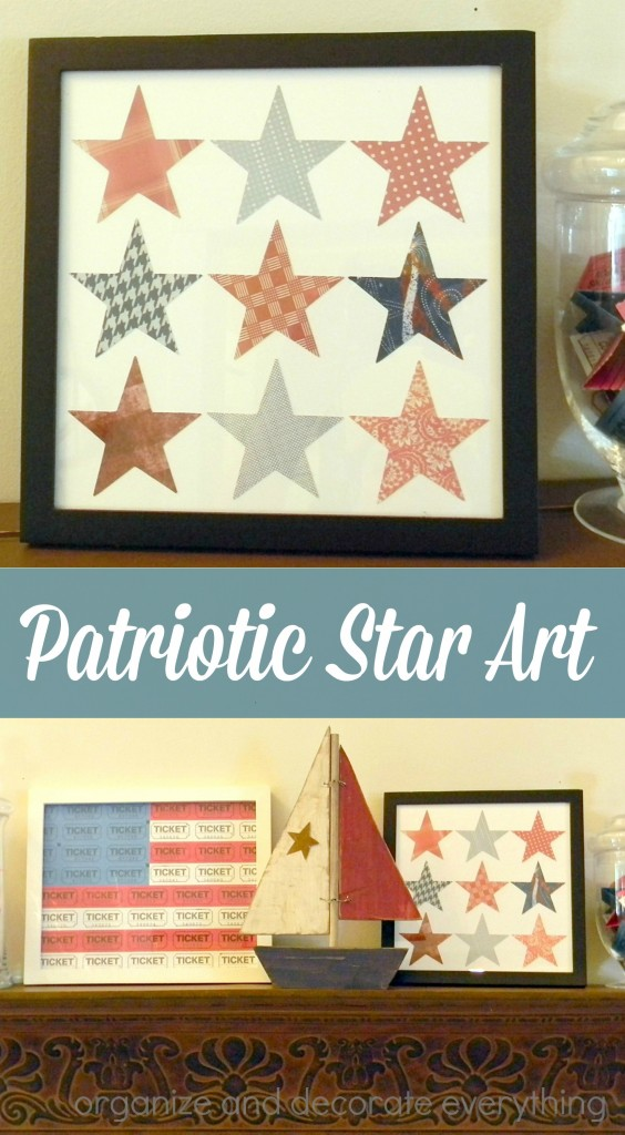 Patriotic Star Art is easy to make using scrapbook paper and a star shape. jpg