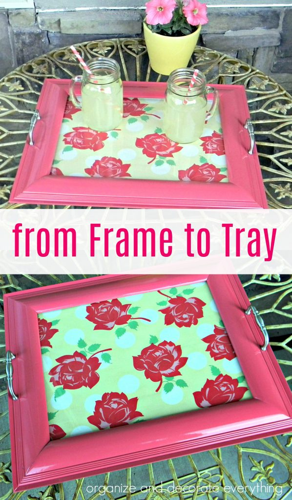 make a cute tray out of an old used frame