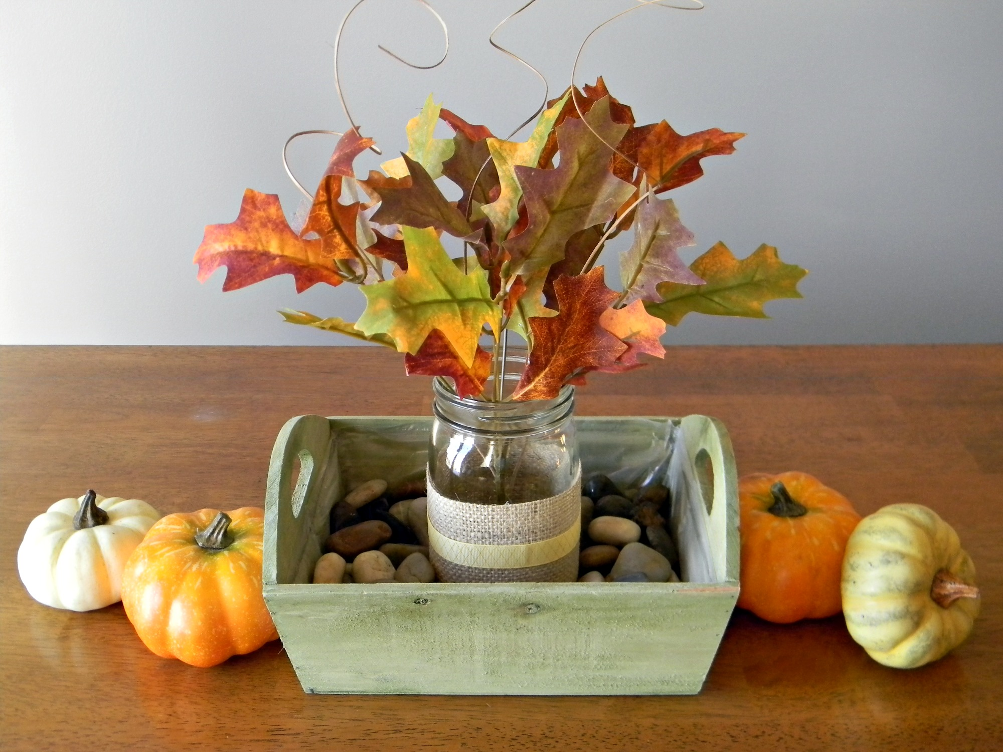 quick and easy fall centerpiece organize and decorate. Black Bedroom Furniture Sets. Home Design Ideas