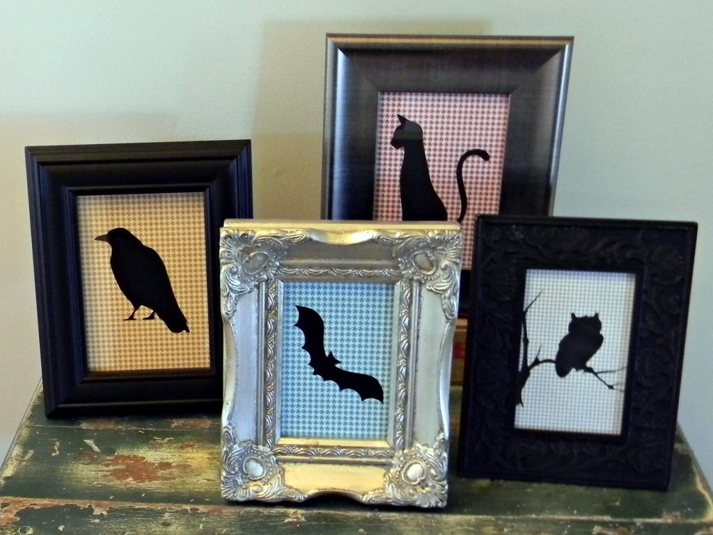 Halloween Silhouettes display on entry table