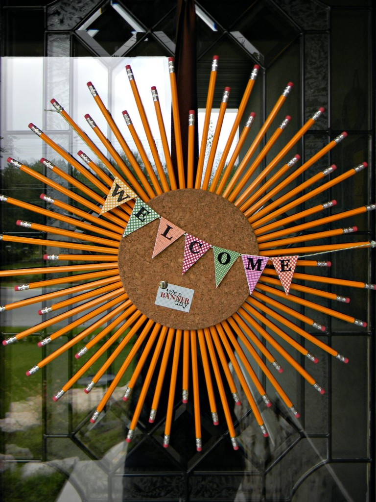 cork and pencil sunburst wreath