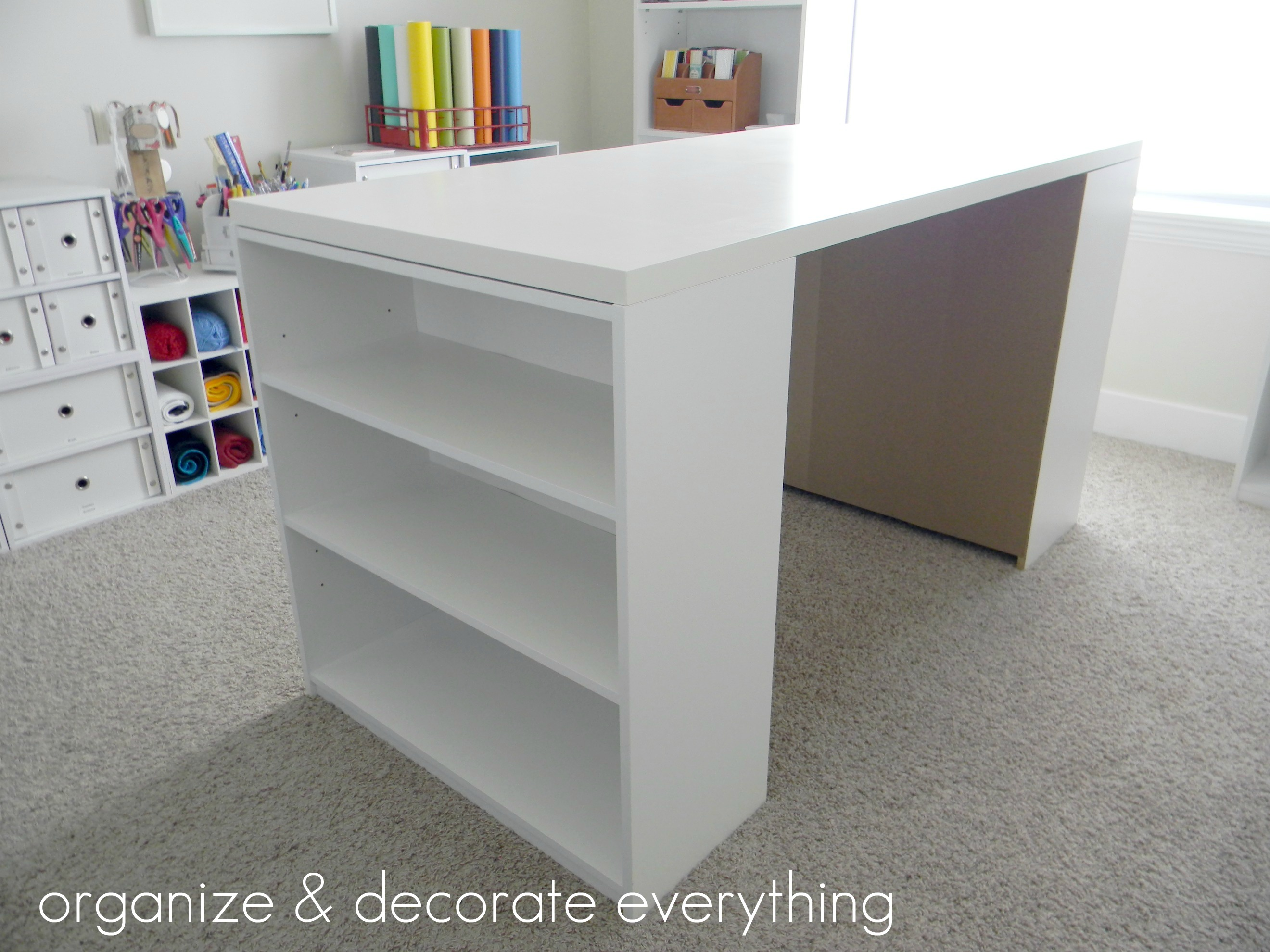 Make your own diy craft table using inexpensive pieces for Craft desk with storage