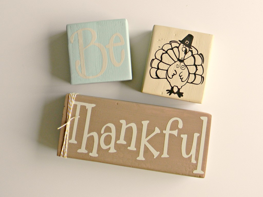 Be Thankful Blocks vinyl words