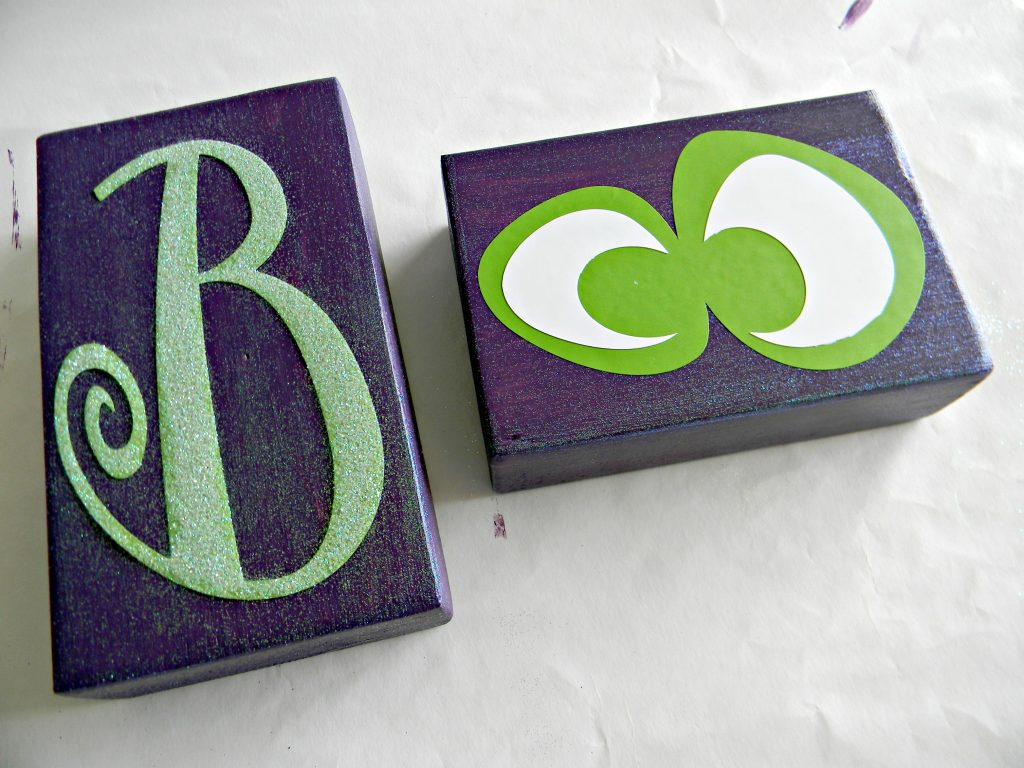 Boo Blocks glittered and applied
