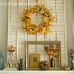 Fall Mantel with a Touch of Blue