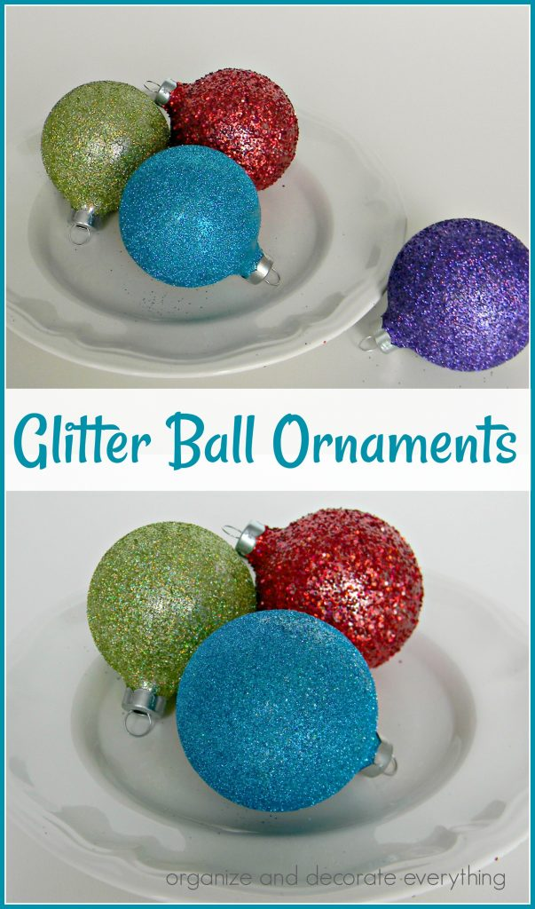 colored glitter ball ornaments