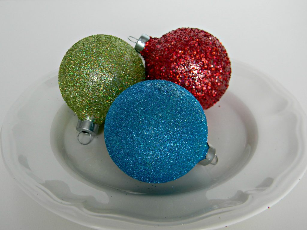 finished glitter ornaments