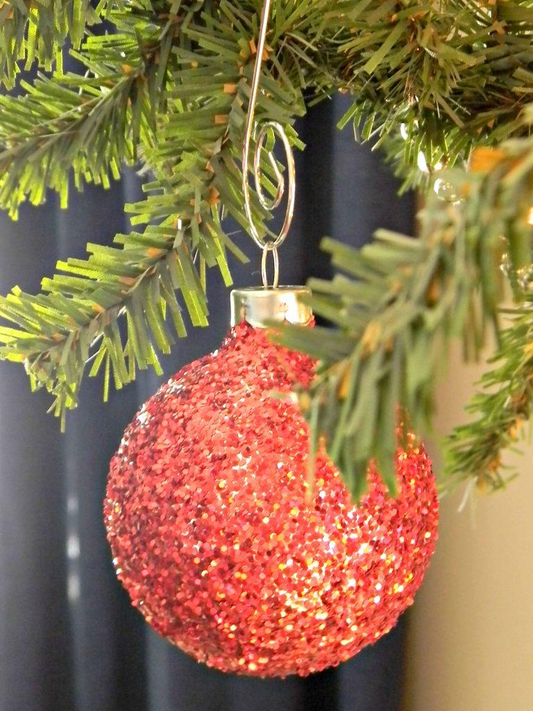 red glitter ornament