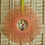 Striped Paper Straw Wreath