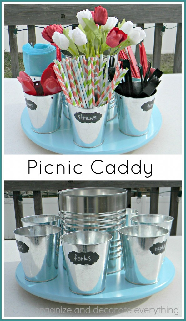 Lazy Susan Picnic Caddy for easy Outdoor Dining