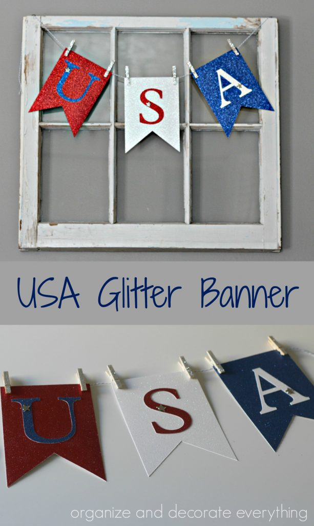 USA Glitter Banner for Holidays and Parties