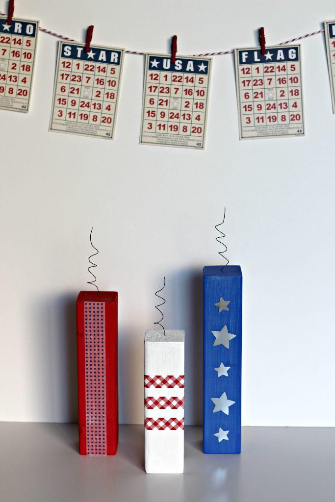 mini stacker firecrackers with bingo cards