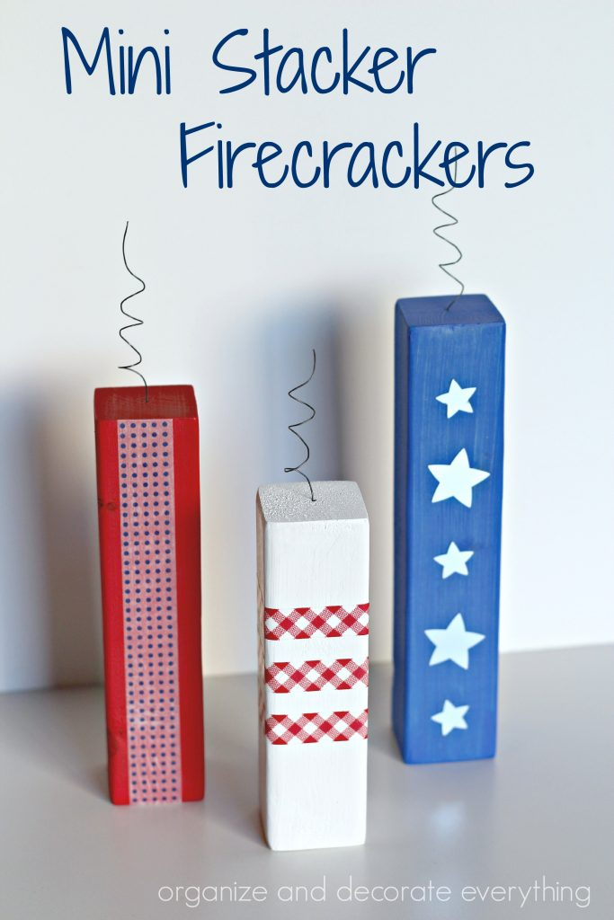 red, white and blue mini stacker firecrackers