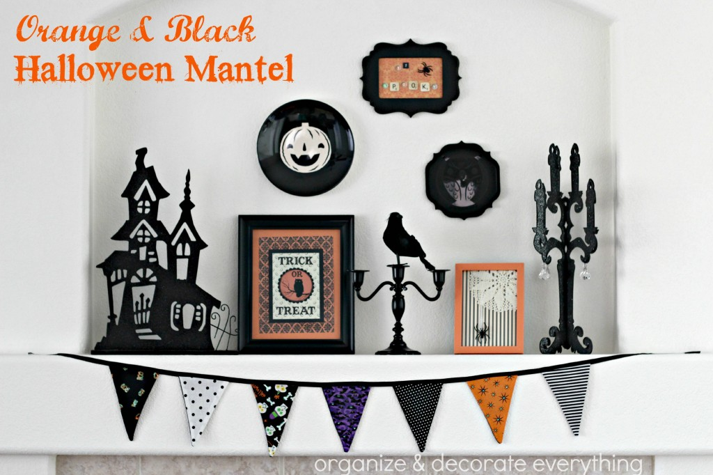 Orange & Black Halloween Mantel.1