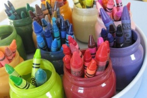 crayons in jar