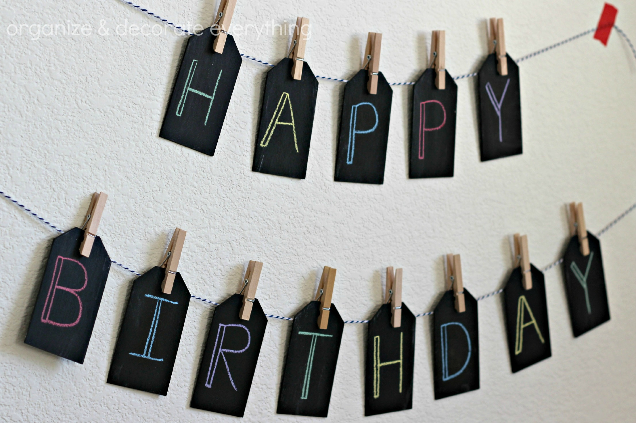 Beautiful Chalkboard Birthday Banner - Organize and Decorate Everything NA41