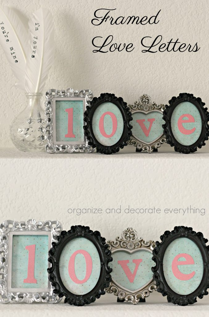 Framed Love Letters to display for Valentines Day