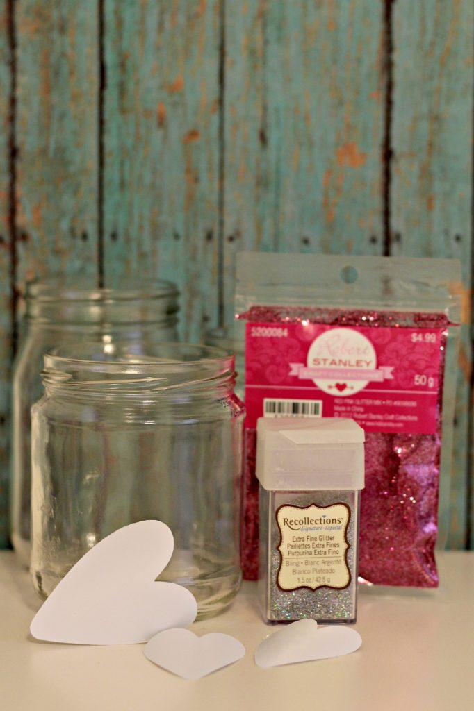 glitter heart jars supplies