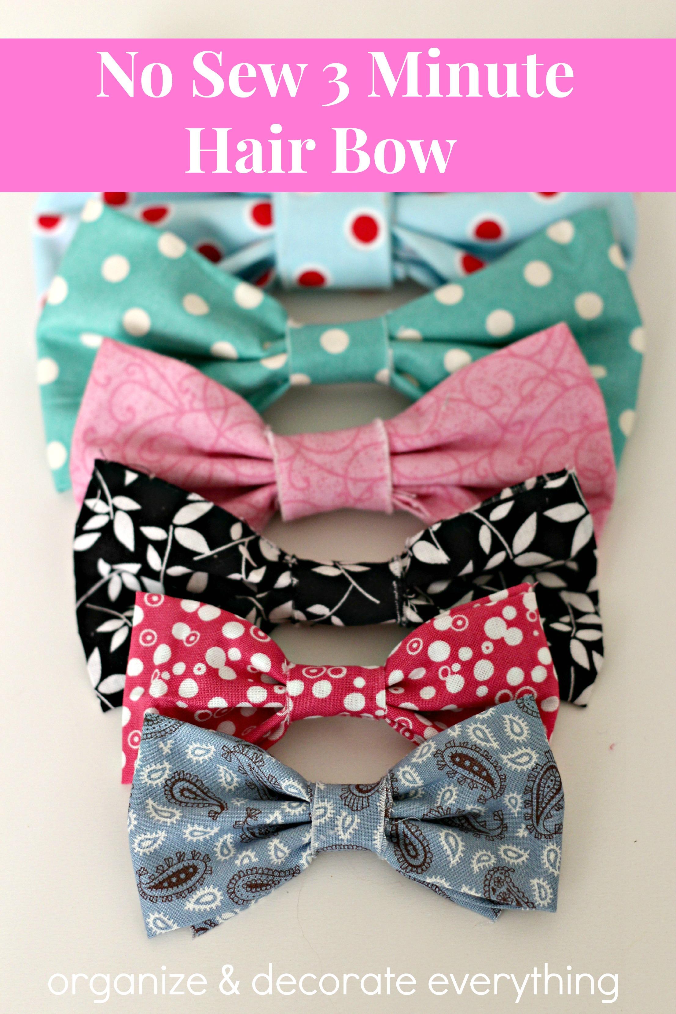 How to organize hair bows - No Sew 3 Minute Hair Bow 1