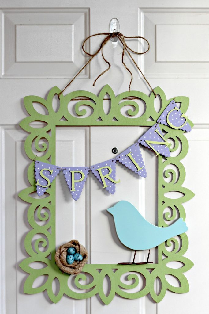 Spring Frame Wreath with bird and nest