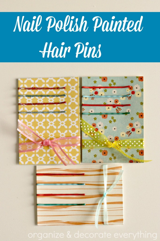 Nail polish painted hair pins.1