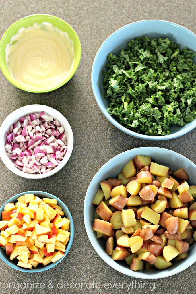 Apple Kale Potato Salad ingredients