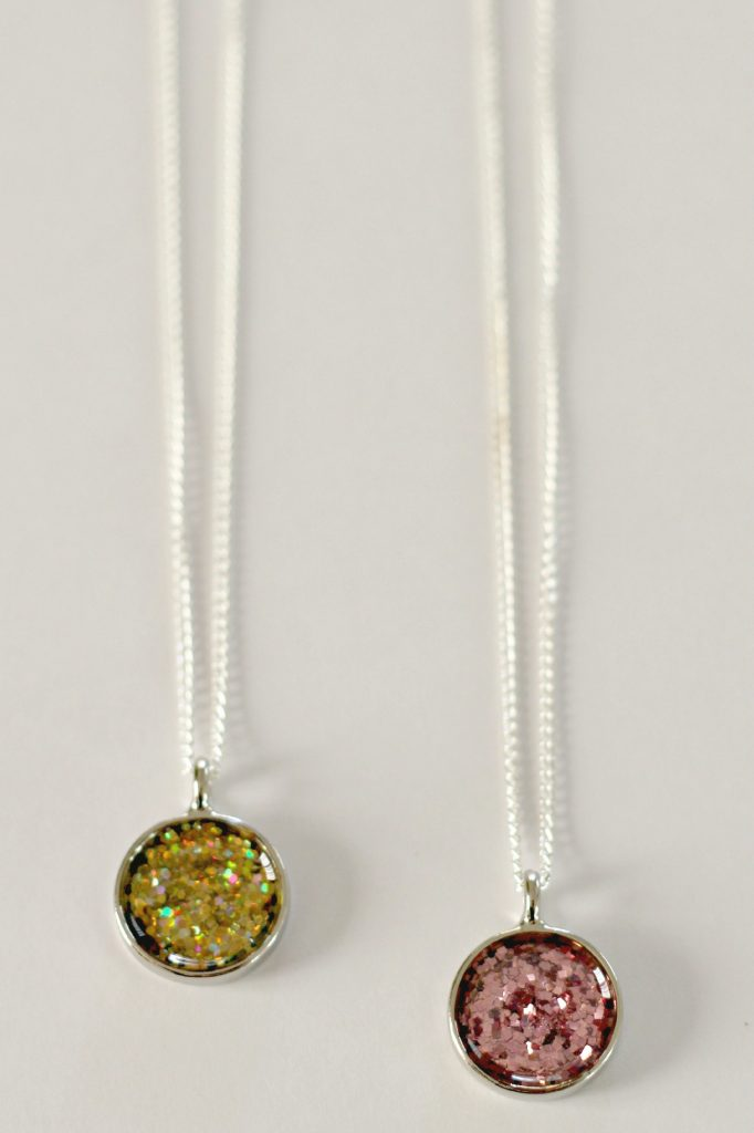 gold and pink glitter necklaces
