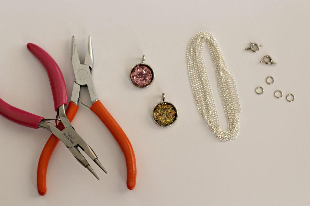 glitter necklace chain supplies