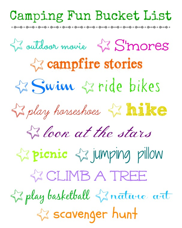 camping fun bucket list
