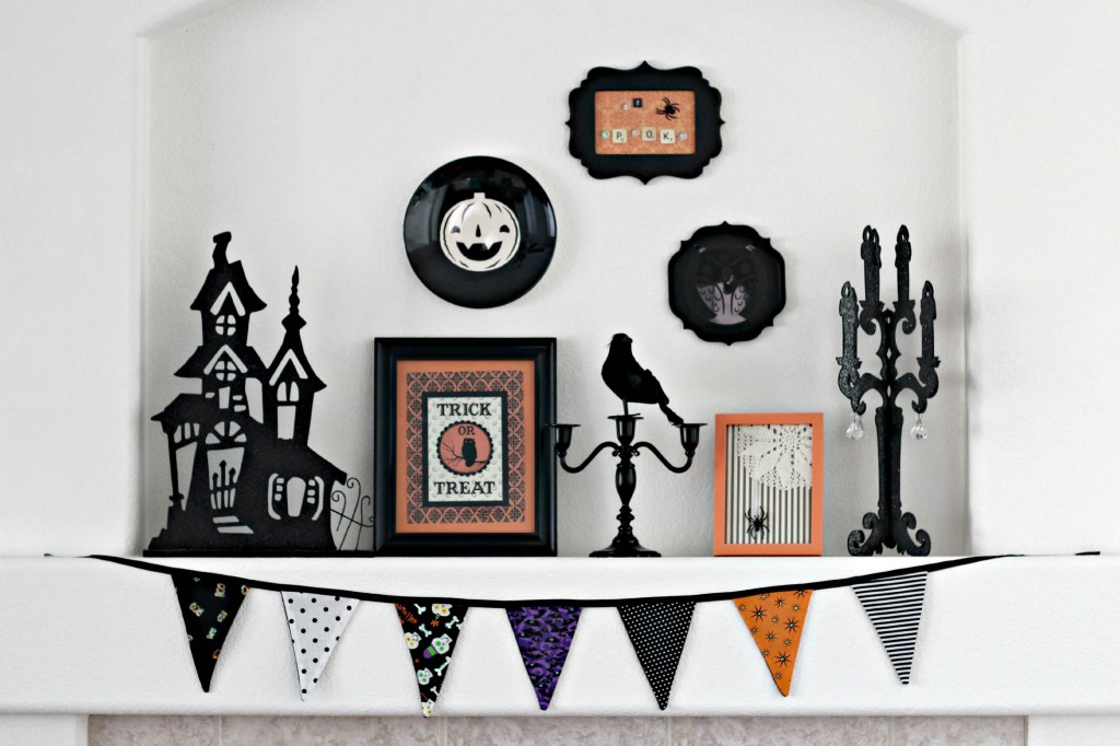 Orange & Black Halloween Mantel