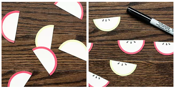 Paper Apple Slice Treat Toppers seeds