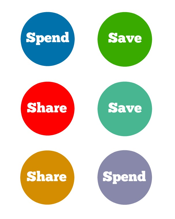 Share Save Spend Jar Top Printables