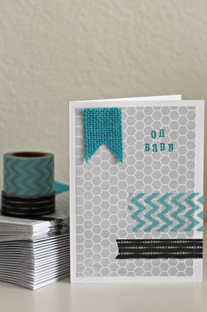 Washi Tape and Burlap Card 3