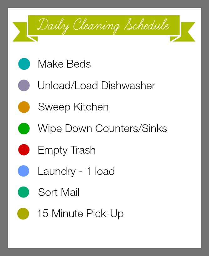 Cleaning Schedule printable 15 minute organizing