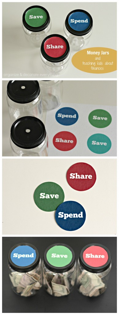Money jars and teaching kids about finances - Organize and Decorate Everything collage