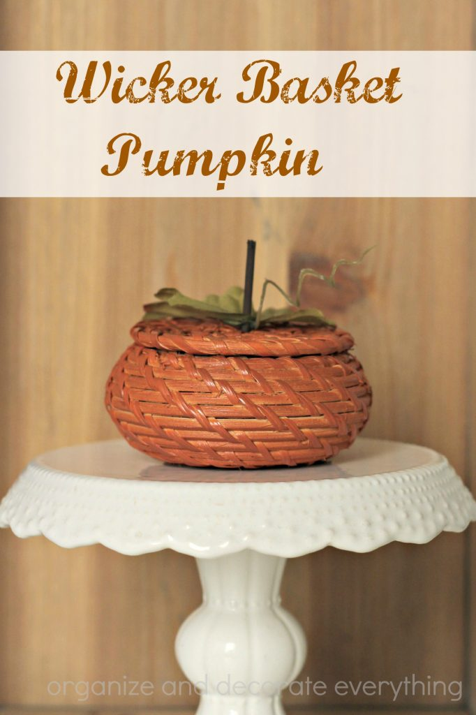 Make a cute Wicker Basket Pumpkin using a small lidded basket