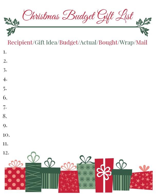 Christmas Budget Gift List