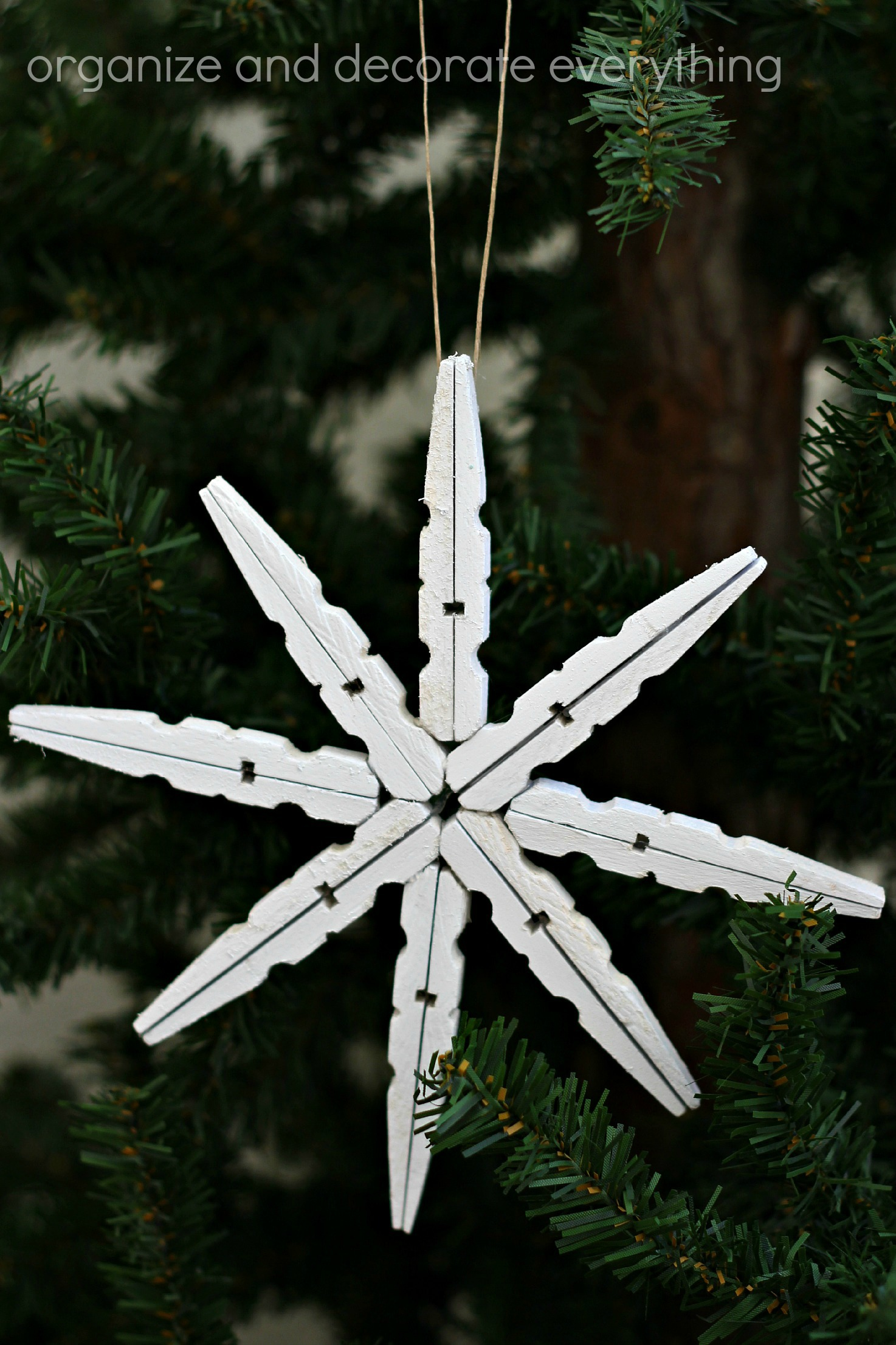 Christmas snowflake ornaments - Clothespin Snowflake Ornament 5 1