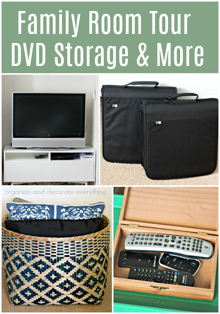 Family Room TOur DVD Storage and More Organizing Ideas
