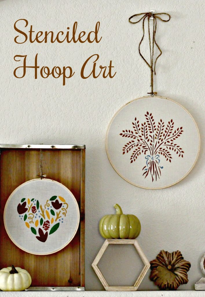 Stenciled Hoop Art home decor