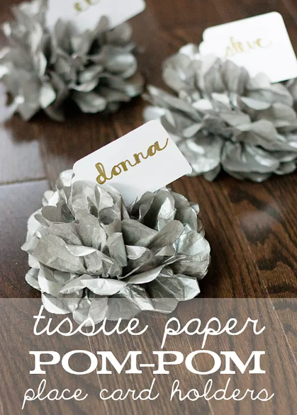 Tissue Paper Pom Pom Place Card Holders