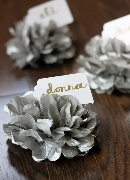 Tissue Paper Pom Pom Place Cards