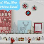 Red, Blue, Silver Christmas Mantel and Blog Hop